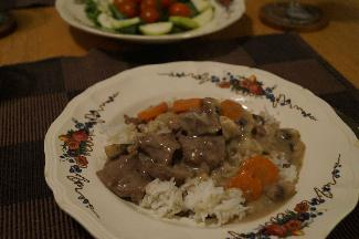 Blanquette de veau (Veal stew) and rice