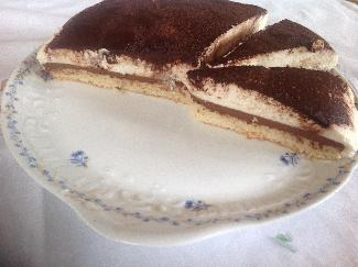 Bavarian chocolate mousse cake with pear